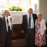 Coventry Lord Mayor Mr Michael Hammon, Ian Thom and Sheila Woolf, chair of Stoneleigh History Society